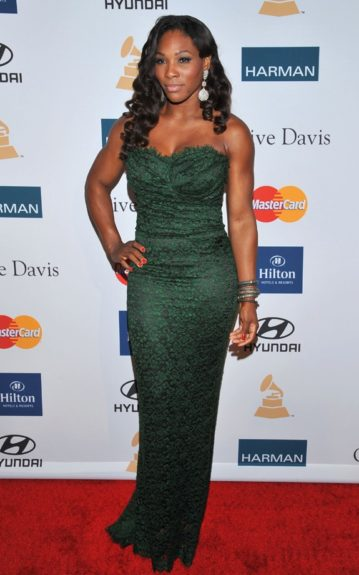 Venus Williams arrives at the Pre-GRAMMY Gala & Salute to Industry Icons with Clive Davis honoring Richard Branson, Saturday, Feb. 11, 2012, in Beverly Hills, Calif. (AP Photo/Vince Bucci)