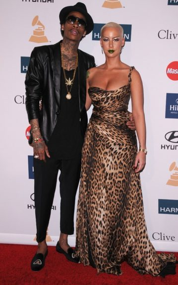 Wiz Khalifa and Amber Rose arrive at the Clive Davis And The Recording Academy's 2012 Pre-GRAMMY Gala And Salute To Industry Icons Honoring Richard Branson at the Beverly Hilton hotel. (Photo by Scott Kirkland/PictureGroup) via AP IMAGES