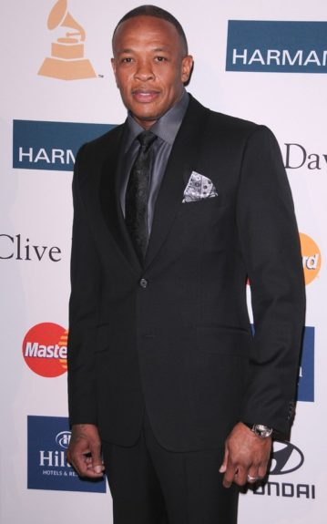 Dr. Dre arrives at the Clive Davis And The Recording Academy's 2012 Pre-GRAMMY Gala And Salute To Industry Icons Honoring Richard Branson at the Beverly Hilton hotel. (Photo by Scott Kirkland/PictureGroup