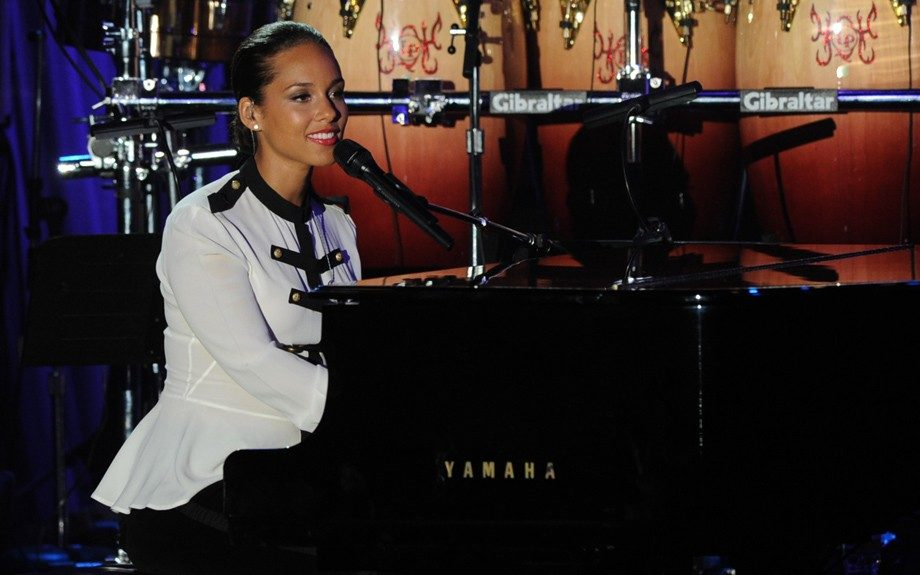 Alicia Keys performs onstage at the Pre-GRAMMY Gala & Salute to Industry Icons with Clive Davis honoring Richard Branson, Saturday, Feb. 11, 2012, in Beverly Hills, Calif. (AP Photo/Vince Bucci)