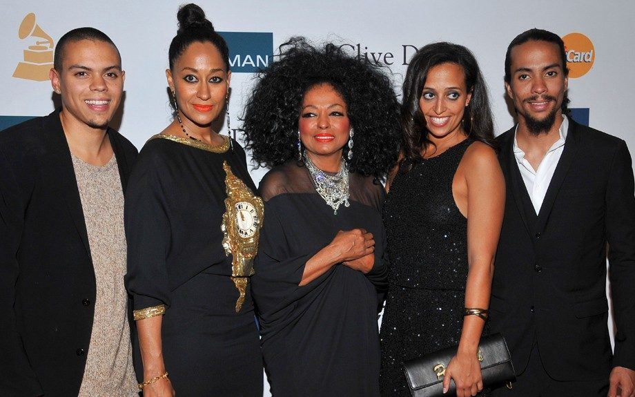 Diana Ross, center, and fmaily arrive at the Pre-GRAMMY Gala & Salute to Industry Icons with Clive Davis honoring Richard Branson, Saturday, Feb. 11, 2012, in Beverly Hills, Calif. (AP Photo/Vince Bucci)
