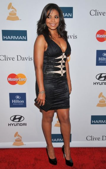 Sanaa Lathan arrives at the Pre-GRAMMY Gala & Salute to Industry Icons with Clive Davis honoring Richard Branson, Saturday, Feb. 11, 2012, in Beverly Hills, Calif. (AP Photo/Vince Bucci)