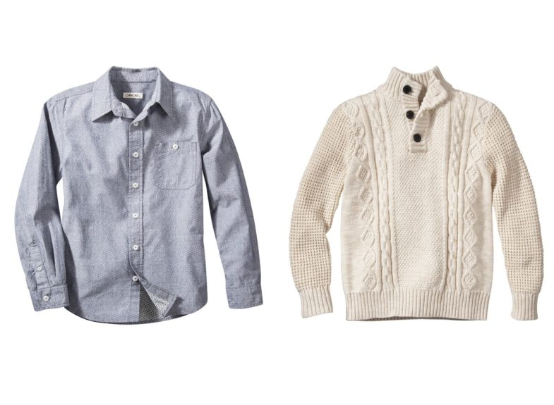 "Cherokee Boy's Long-Sleeve Button Down Shirt in Chambray Geo Print, $14.99, in-store and Cherokee Pullover Cable Sweater, $17, <a href=""http://www.target.com/p/boys-pullover-cable-sweater/-/A-15573772#prodSlot=medium_2_8&tempterm=cherokee+boys+clothing"">www.target.com</a>"