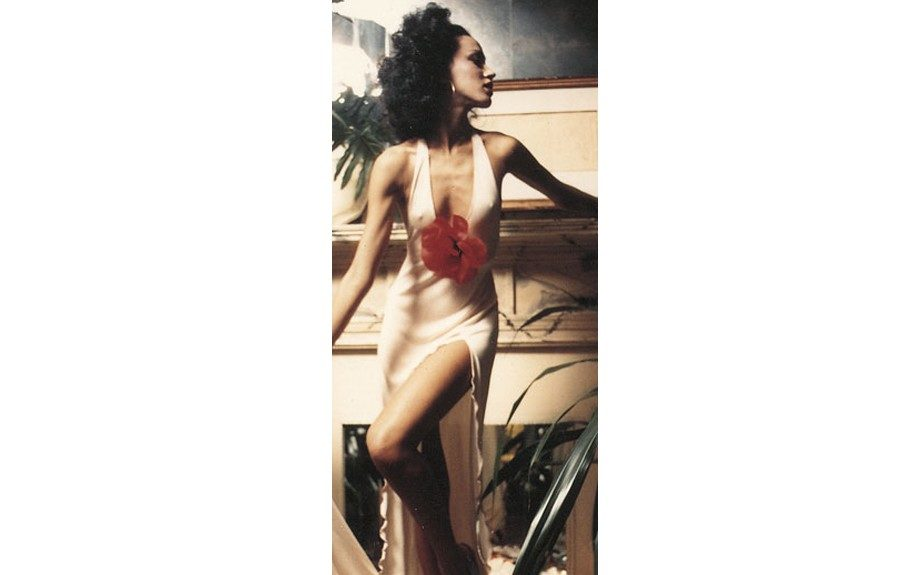 Model Pat Cleveland in a signature Stephen Burrows look.