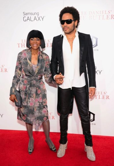 Cicely Tyson worked the red carpet with Lenny Kravitz, looking majestic in a sheer floral wrap dress, and embellished Manolo Blahnik pumps. Lenny offeredrock star flair in a tuxedo jacket with satin lapels, a white button up, and black leather skinny jeans.