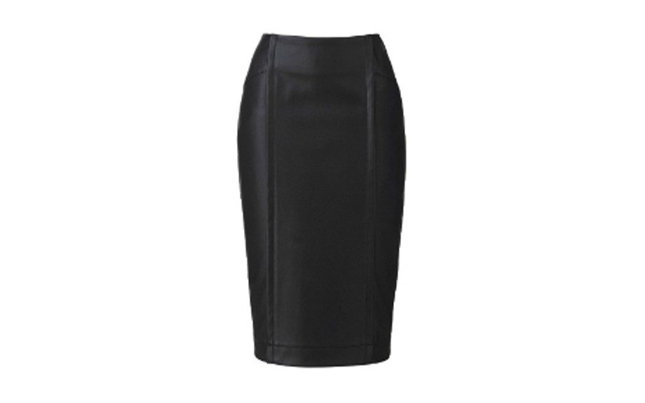 "<strong>LOOK ONE: </strong>Simply Be PU Pencil Skirt <a href=""http://www.simplybe.com/skirts/pu-stretch-pencil-skirt/invt/lh184ja"" target=""_blank"">$64.95</a>"