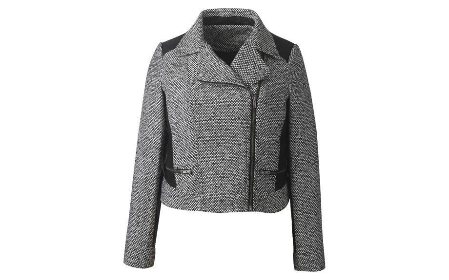 "<strong>LOOK ONE: </strong>Simply Be Tweed Biker Jacket <a href=""http://www.simplybe.com/view-all-coats-and-jackets-/biker-jacket/invt/ch297tj"" target=""_blank"">$59.95</a>"