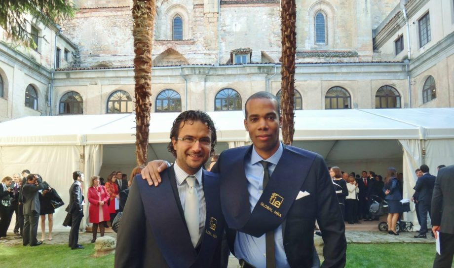 Jamar Johnson in Segovia, Spain, with a fellow classmate as they prepare for business school graduation