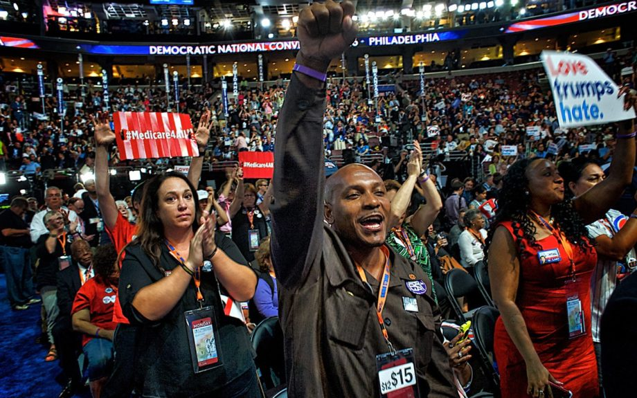 Aaron Ammons, from Urbana, Ill, cheers at the Democratic National Convention. Photo: Geoff Black/EBONY
