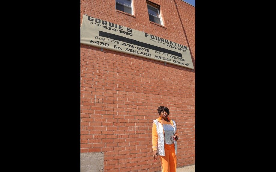 Audrey Wright in front of Gordie's Foundation