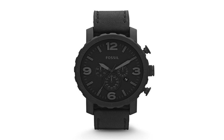 "Black on black for the timepiece collector. Fossil Black Quartz Analog Display Watch. $169.00; <a href=""http://gifta.com/products/product/Watches_and_Accessories/Fossil_Black_Quartz_Analog_Display_Watch/16517"" target=""_blank"">www.gifta.com</a>"