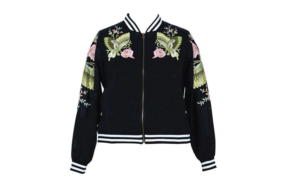 """PUEmbroidered Bomber Jacket,<a href=""""http://www.annascholz.com/online-store/all/pu-embroidered-bomber-jacket-15.html?___store=dollar"""">AnnaScholz.com</a>, $507"""