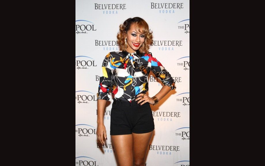 Keri Hilson at Harrah's Resort's 'Pool After Dark' event in black high waisted shorts and an Nautical Flag Shirt by Ralph Lauren.