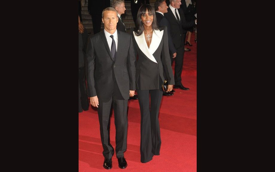 Naomi Campbell attended the Skyfall Royal Premiere in London in a black suit with oversized white lapels from Alexander McQueen's Resort 2013 collection.