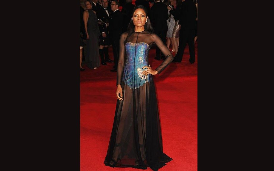 Naomie Harris attended the Skyfall Royal Premiere in London wearing a unique frock by Marios Schwab.