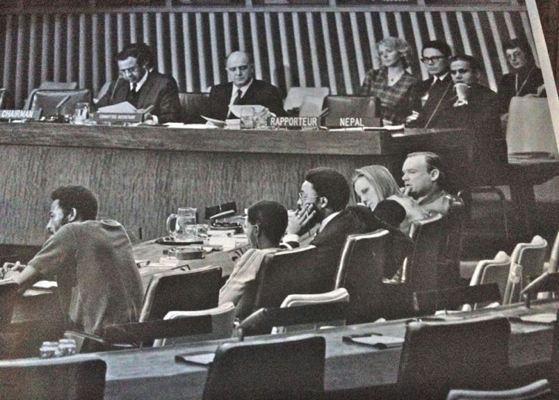 "<span style=""text-align: justify; "">Ken Williams and Caroline Hunter (both left) testify before the UN Special Committee on Apartheid in 1971. ""Dr. King said, 'Nobody's free unless everybody's free.' That has always stuck"
