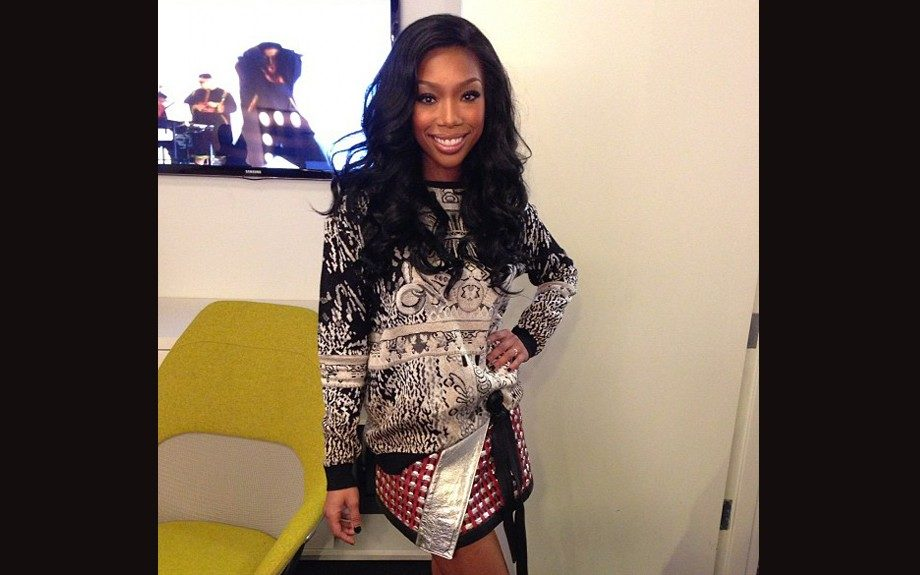 Brandy instagramed herself wearing a Mary Katrantzou Intarsia Sweater and a Fall 2012 Proenza Schouler skirt.