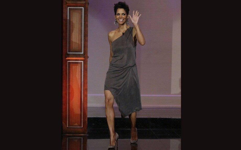 """Halle Berry made an appearance on """"The Tonight Show with Jay Leno"""" in a Helmut Lang Rogue Dress and a pair of Christian Louboutin Crystal Embellished Pigalle Pumps."""
