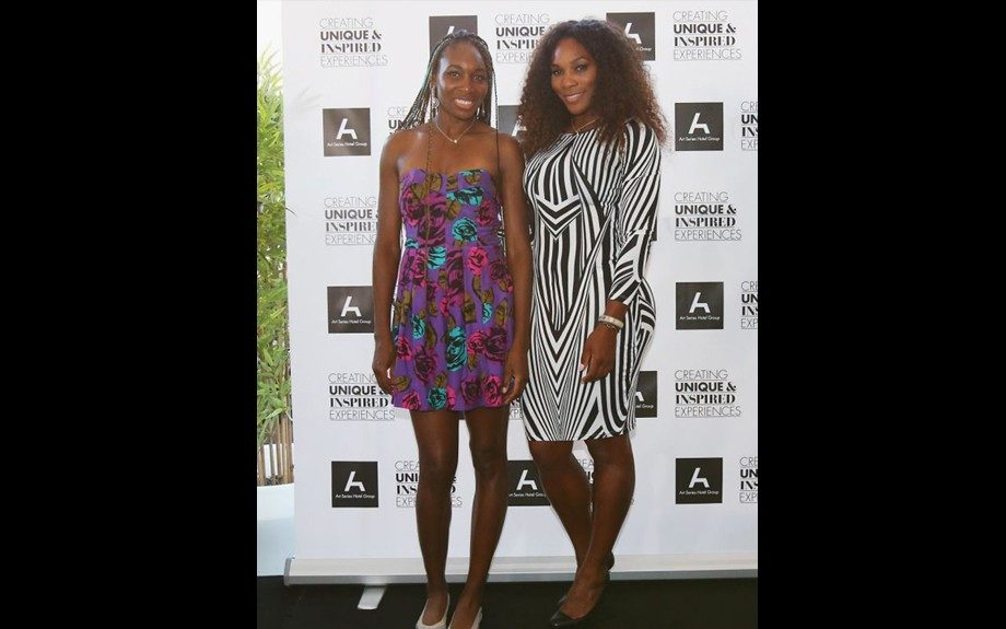 The Williams' sisters hung out at the Olsen Hotel in Melbourne Australia. Venus opted for a strapless floral dress, Serena went for an optical printed black and white Bodycon dress from Topshop. Photo Credit: Getty