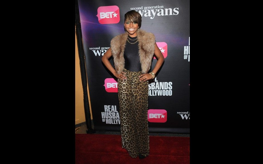 106& Park host Miss Mykie sported a cropped fur vest over a black body suit and leopard print wide leg trousers. Photo Credit: Getty