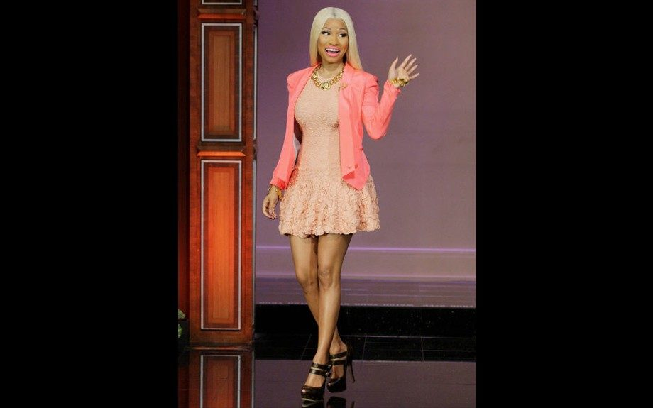 """Top Pick of the Week: Nicki Minaj is the ultimate """"barbie', looking classy and super sweet in this a-line, textured number."""
