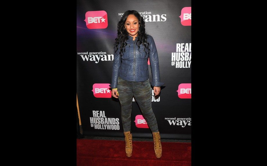 <em>Love & Hip Hop</em> star Tahiry Jose went camo with her leggings paired with a leather jacket and Zigi NY Z-Jo studded boots. Photo Credit: Getty