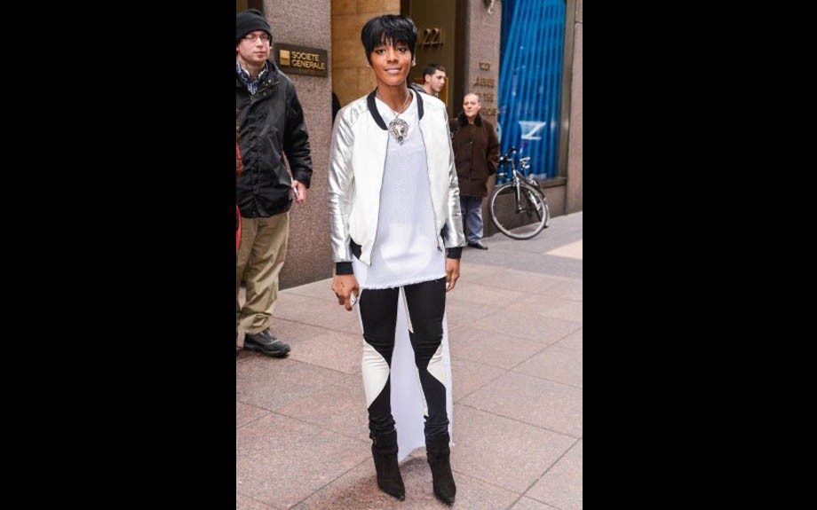 Dawn Richard is preparing to make her comeback as she chilled outside of the Sirius XM Studios in NYC in a color block varsity jacket and two-tone denim. Photo Credit: Splash