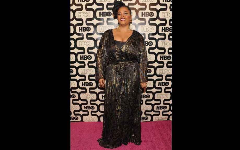 Jill Scott rocks a black and gold lace printed frock at HBO's Post Golden Globes Party in Beverly Hills. Photo Credit: WENN