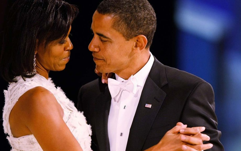 "Their first dance: Michelle and Barack share a gaze as superstar Beyonce beautifully sings ""At Last"" in their honor"