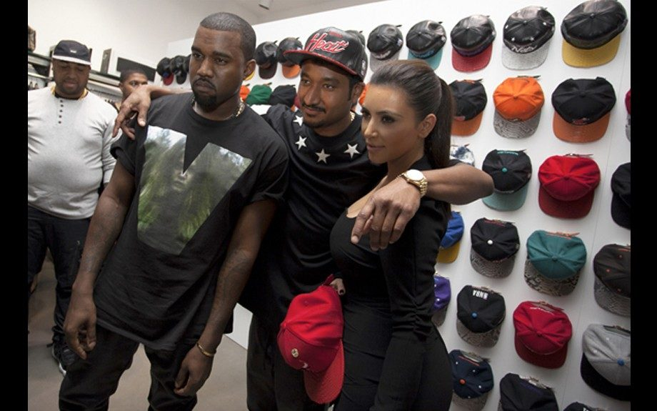 Kanye West hit up the Art Basel festivities in Miami Beach wearing an Unknwn x Don C In-store Event with girlfriend Kim Kardashian in a Pyrex 23 Tee. Photo Credit: Kim's Instagram