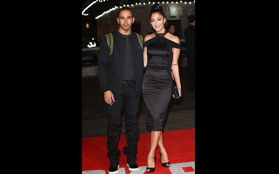 Nicole Scherzinger walked the red carpet for the Jack Reacher World Premiere in London with her beaux Lewis Hamilton in a quilted gown with a high metal-detailed collar from Zeynep Tosun's Spring 2013 collection. Photo Credit: Getty