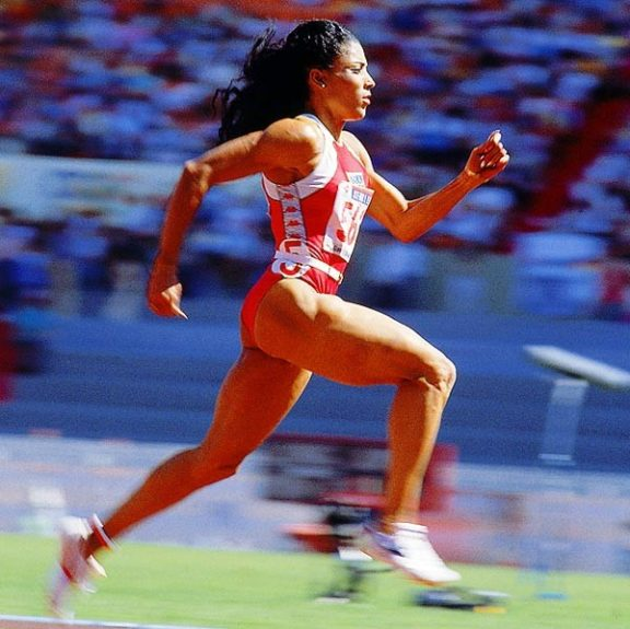 Run, Flo Jo, run: the late Florence Griffith Joyner going for the gold in Seoul.