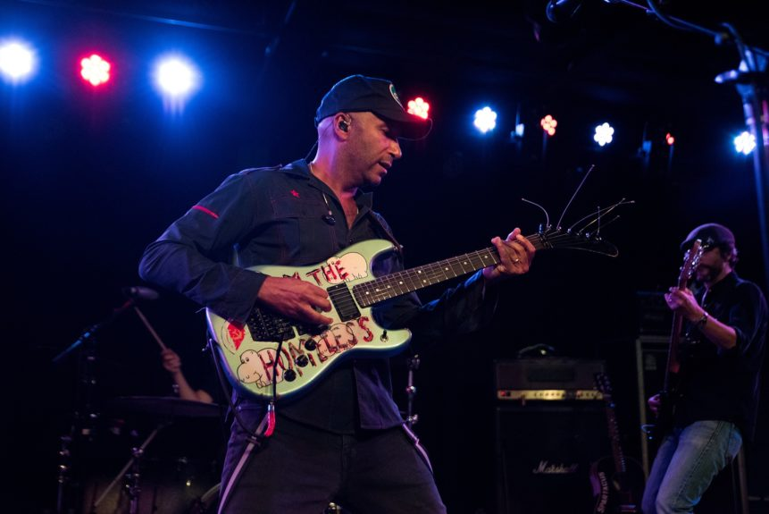 "Activist/musician Tom Morello performs at the ""Ferguson Rocks"" benefit concert on August 8th.   	Photo Credit: Aaron Banks"