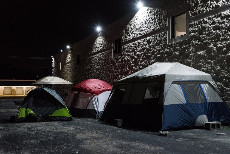 Lost Voices, one of the first groups to take shape following Brown's death, brought their tents back to West Florrissant Avenue.  	Photo Credit: Aaron Banks