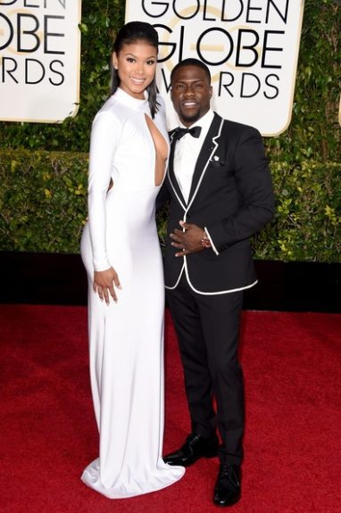 Eniko Parrish with comedian Kevin Hart at the 72nd annual Golden Globe Awards