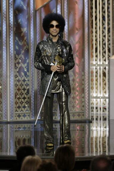 The one and only Prince onstage at the 72nd annual Golden Globe Awards