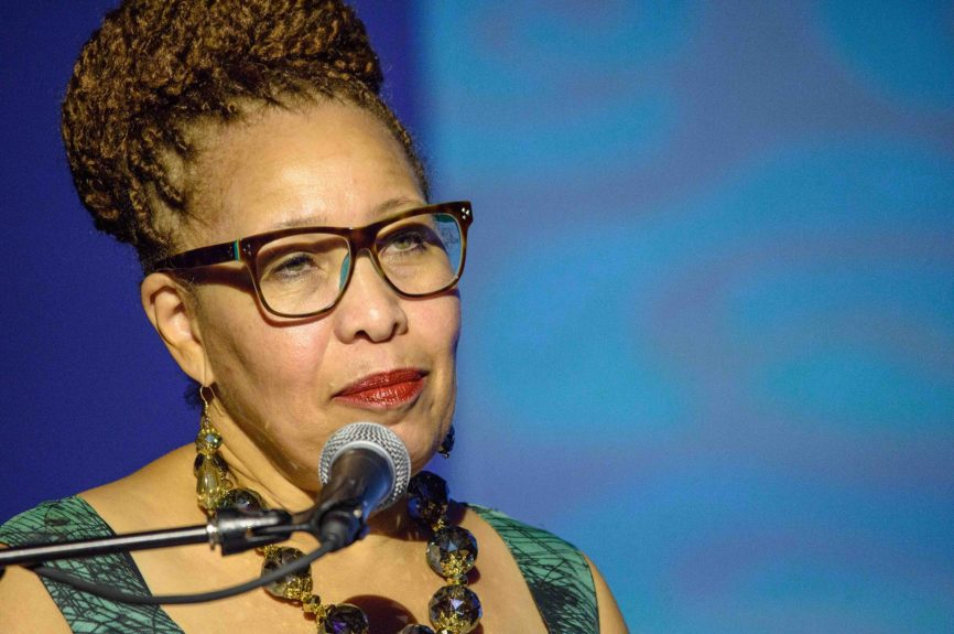 <p> Charles H. Wright Museum President & CEO Juanita Moore acknowledges The Wright Museum's 50th Anniversary.</p>