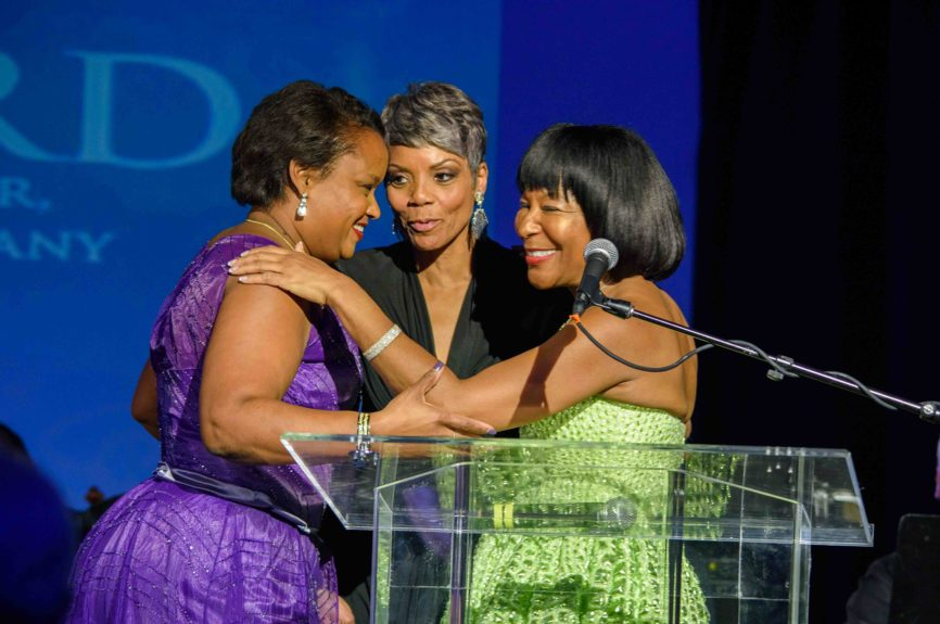 <p> Gala Committee Chair Vivian Pickard, General Motors Foundation president thanks co-chairs Pamela Alexander, Ford Motor Company director of community development and Faye Nelson, vice president of Public Affairs for DTE Energy.</p>