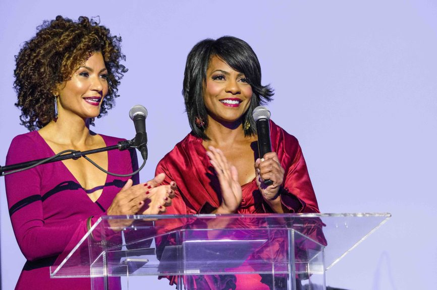 <p> Detroit broadcast reporters Lauren Sanders and Rhonda Walker of The Rhonda Walker Foundation served as two of four emcees for The Wright Gala.</p>