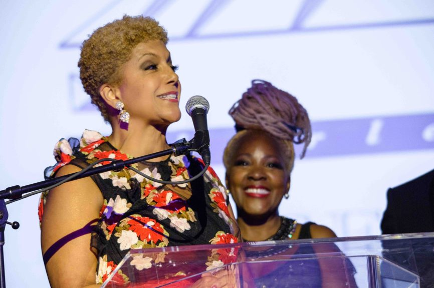<p> Johnson Publishing Company chairman Linda Johnson Rice accepts a sculpture created and gifted by the General Motors Design Center and inspired by The Wright Museum's exhibition<em>InspiringBeauty: 50 Years of Ebony Fashion Fair.</em></p>