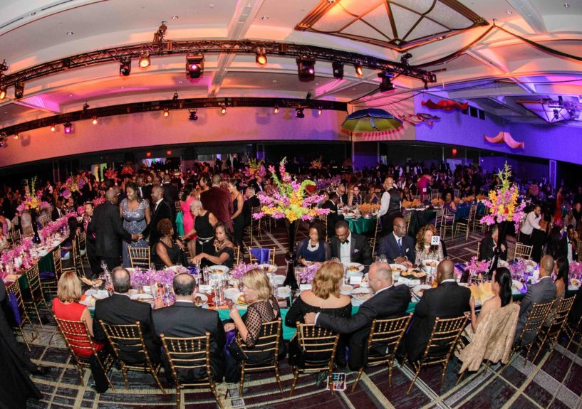 <p> The Wright Gala was hosted in the Grand Ballroom of the Detroit Marriott Renaissance Center inside General Motors' global headquarters.</p>