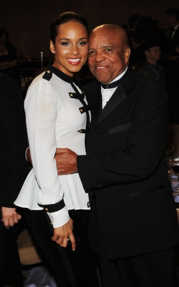 Musician Alicia Keys (L) and Berry Gordy, Jr. attend Clive Davis and the Recording Academy's 2012 Pre-GRAMMY Gala and Salute to Industry Icons Honoring Richard Branson. (Photo by Larry Busacca/Getty Images For The Recording Academy)