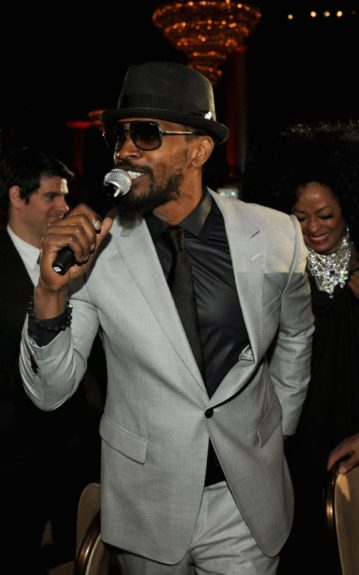 Singers Jamie Foxx and Diana Ross perform onstage at Clive Davis and the Recording Academy's 2012 Pre-GRAMMY Gala and Salute to Industry Icons Honoring Richard Branson. (Photo by Larry Busacca/Getty Images For The Recording Academy)