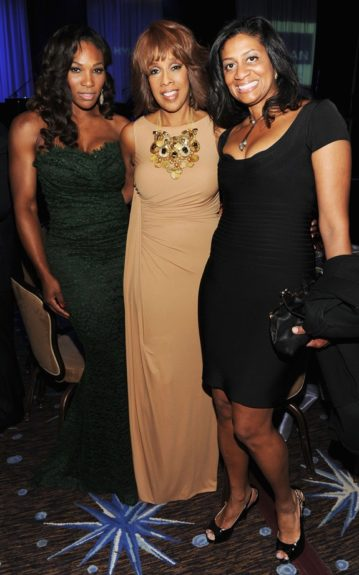 Athlete Serena Williams, Gayle King and guest attend Clive Davis and the Recording Academy's 2012 Pre-GRAMMY Gala and Salute to Industry Icons Honoring Richard Branson. (Photo by Larry Busacca/Getty Images For The Recording Academy)