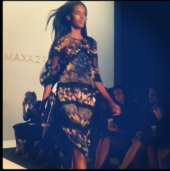 Model Grace working the catwalk at BCBG.
