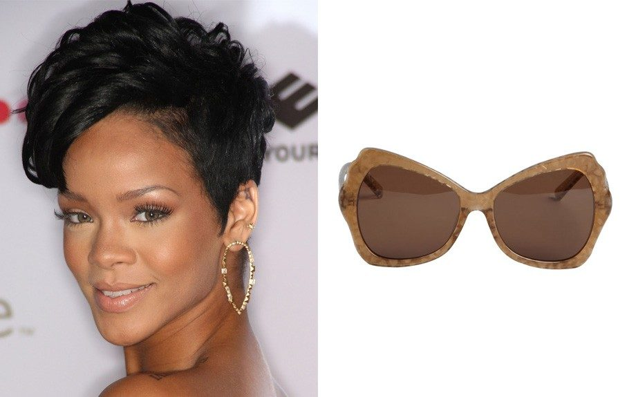 """For the heart shape: House of Harlow Pearlized Cat Eye Sunglasses, $44 (bluefly.com) Image Source:<a href=""""http://fashionbombdaily.com/tag/rihanna/"""" target=""""_blank"""">Fashion Bomb</a>"""