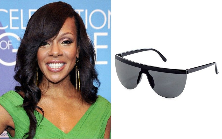 """If your face is a little long with a pointed chin: H&M Tinted Sunglasses, $13 (HM.com) Image Source:<a href=""""http://www.thehairstyler.com/celebrity-hairstyles/wendy-raquel-robinson"""" target=""""_blank"""">The Hairstyler</a>"""