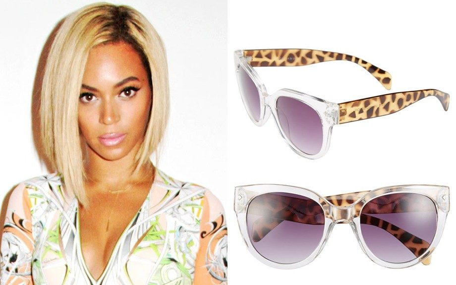"""For an oval shaped face: Fantas Eyes Animal Sunglasses, $22 (nordstrom.com) Image Source:<a href=""""http://www.eonline.com/news/450059/beyonce-flaunts-new-bob-at-first-concert-since-getting-her-haircut"""" target=""""_blank"""">E! Online</a>"""