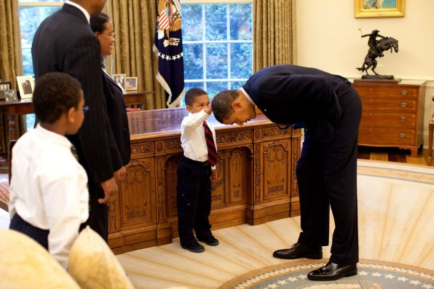 """Mr. President, does your hair feel like mine?"" President Obama: ""It sure does, kid!"""