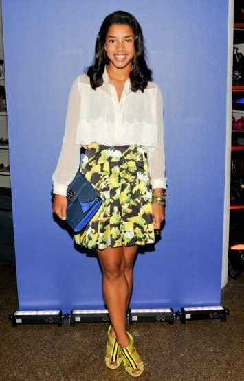 At Prabal Gurungs event at Barneys, Bronfman wears the designers skirt with a minimal ivory colored top